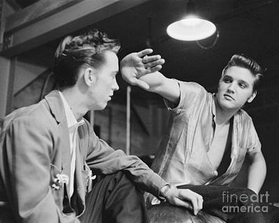 Elvis Presley And Cousin Gene Smith Cropped Image Poster by The Harrington Collection