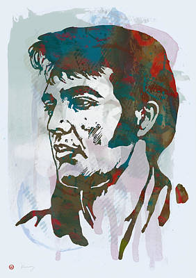 Elvis Presley - Modern Etching  Pop Art Poster Poster by Kim Wang
