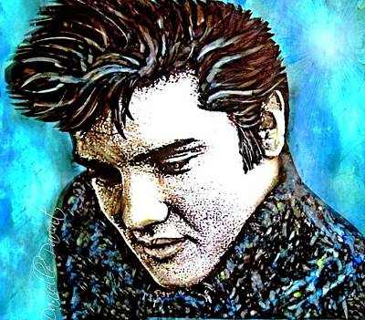 Elvis Presley Never Left The Building Alcohol Inks Poster by Danielle  Parent