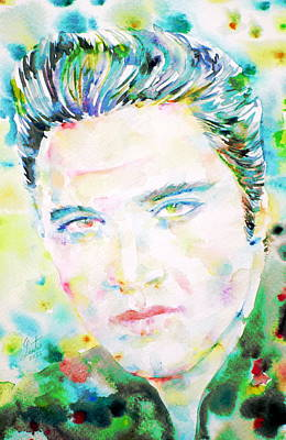 Elvis Presley Watercolor Portrait.2 Poster