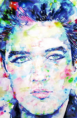 Elvis Presley Watercolor Portrait.4 Poster