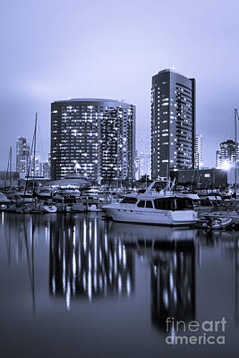 Embarcadero Marina At Night In San Diego California Poster by Paul Velgos