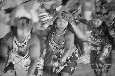 Embera Villagers In Panama As Black And White Poster