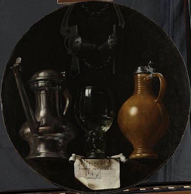Emblematic Still Life With Flagon, Glass Poster by Litz Collection