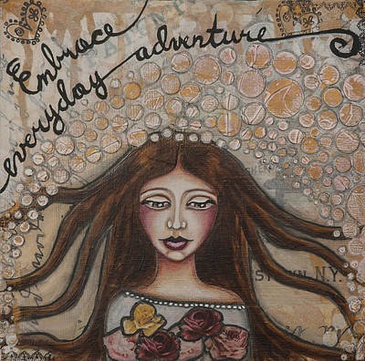 Embrace Everyday Adventure Inspirational Mixed Media Folk Art Poster