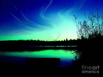 Emerald City Sunset At Lake Ballinger Poster