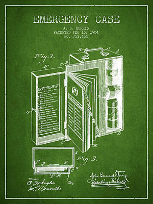 Emergency Case Patent From 1904 - Green Poster by Aged Pixel