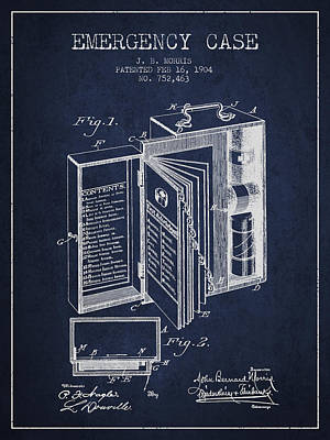 Emergency Case Patent From 1904 - Navy Blue Poster by Aged Pixel