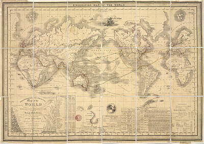 Emigration Map Of The World Poster