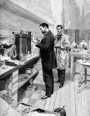 Emile Roux Preparing Croup Vaccine Poster by Collection Abecasis