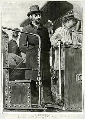 Emile Zola  On A Locomotive Footplate Poster
