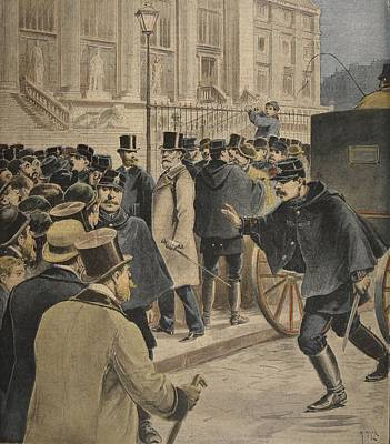 Emile Zola Outside The Courthouse Poster by Henri Meyer