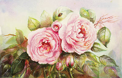 Poster featuring the painting Emily English Roses by Patricia Schneider Mitchell