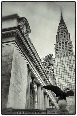 Empire State Building And Grand Central Station Vintage Black And White Poster by For Ninety One Days