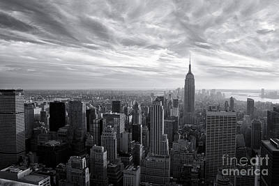 Empire State Building And Midtown Manhattan Black And White Poster by Sabine Jacobs