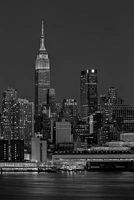 Empire State Building In Christmas Lights Bw Poster