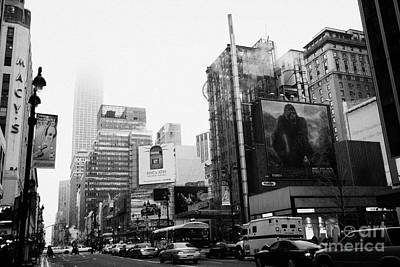 empire state building shrouded in mist from west 34th Street and 7th Avenue King Kong movie poster Poster
