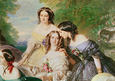 Empress Eugenie 1826-1920 And Her Ladies In Waiting, Detail Of Baronne De Malaret, Nee Nathalie De Poster by Franz Xaver Winterhalter