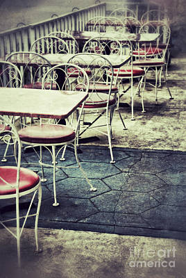 Empty Chairs And Tables Outside At Restaurant Poster by Birgit Tyrrell