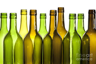 Empty Glass Wine Bottles Poster by Colin and Linda McKie