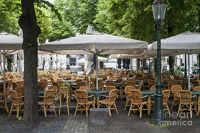 Empty Outdoor Cafe In Europe Poster