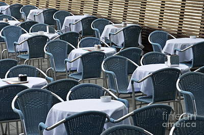 Empty Restaurant Seats And Tables Poster