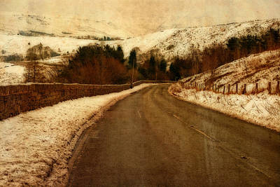 Empty Road Through Snow Covered Yorkshire Moors Poster by Ken Biggs