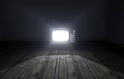 Empty Room With Illuminated Television Poster
