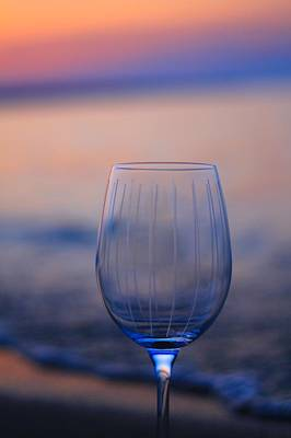Empty Wine Glass At Sunset Poster by Dan Sproul