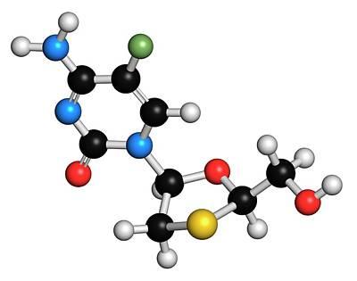Emtricitabine Hiv Drug Molecule Poster