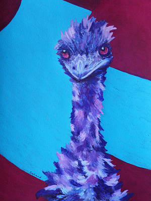 Poster featuring the painting Emu Eyes by Margaret Saheed