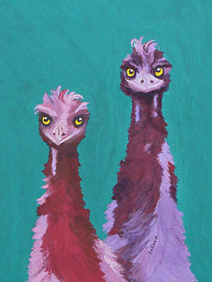 Poster featuring the painting Emu Watch by Margaret Saheed
