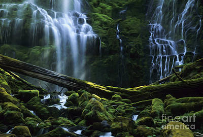 Enchanted Spaces Proxy Falls Oregon Poster by Bob Christopher