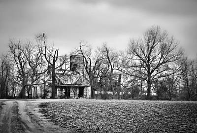 End Of The Road Farmhouse In Bw Poster by Greg Jackson