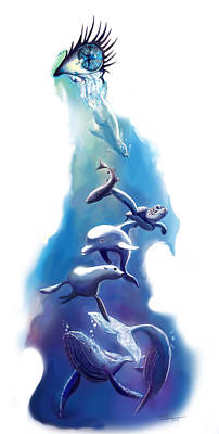 endangered sea life Water colour giclee print with eye and sea mammals Ocean Tears Poster by Sassan Filsoof
