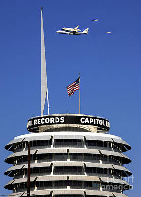 Endeavour Shuttle Over Capitol Records Bldg- Hollywood- With Fighter Jets Poster by Howard Koby