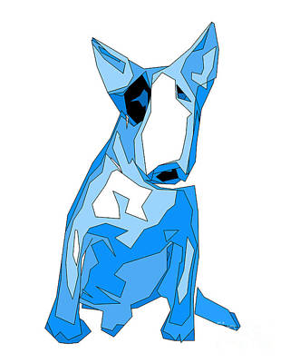 English Bull Terrier Blue Dog Poster by   Alex