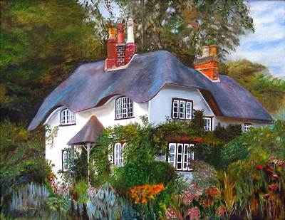 Poster featuring the painting English Cottage by LaVonne Hand