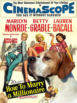 English Pointer Art Canvas Print - How To Marry A Millionaire Movie Poster Poster by Sandra Sij