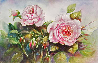 Poster featuring the painting English Roses by Patricia Schneider Mitchell