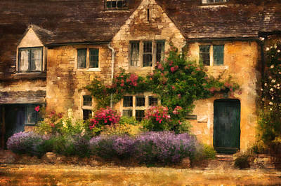 English Stone Cottage Poster