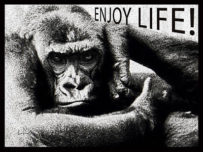 Enjoy Life Gorilla Poster by Doug LaRue