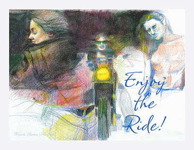 Poster featuring the drawing Enjoy The Ride by Brooks Garten Hauschild
