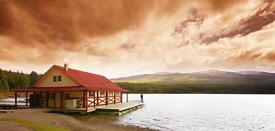 Enjoying A Mountain Lake View Poster by Don Hammond