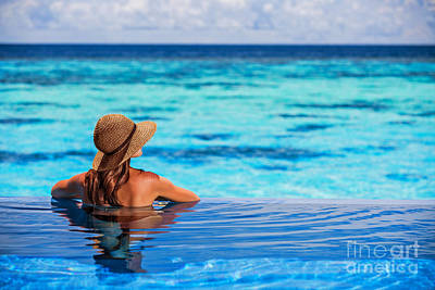 Enjoying Beach Resort Poster by Anna Om