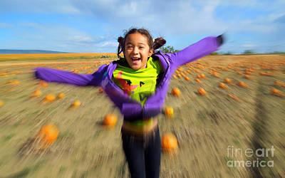 Enjoying Pumpkin Patch Poster by Heidi Manly