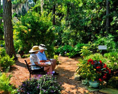 Loving Couple Enjoying Their Prayer Garden Poster