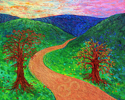 Enlightened Path - Dawn Poster by Julie Turner