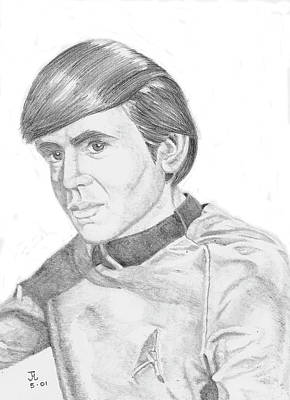 Poster featuring the drawing Ensign Pavel Chekov by Thomas J Herring