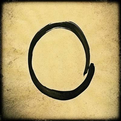 Enso #4 - Zen Circle Abstract Sand And Black Poster by Marianna Mills